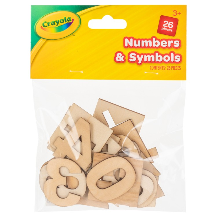 Crayola Pack of Wooden Numbers and Symbols 26 Pieces