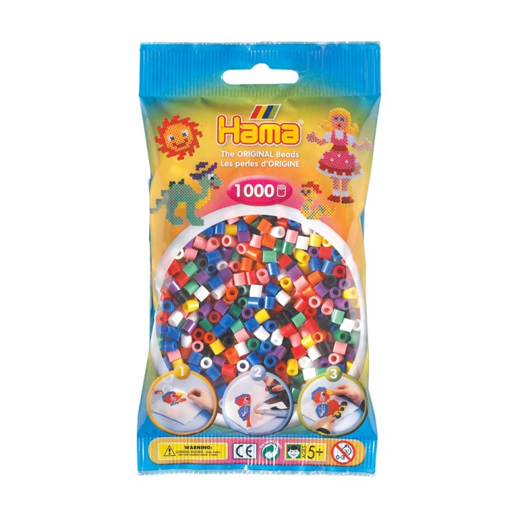 Hama Beads Bag of 1000 Solid Mix Coloured Beads