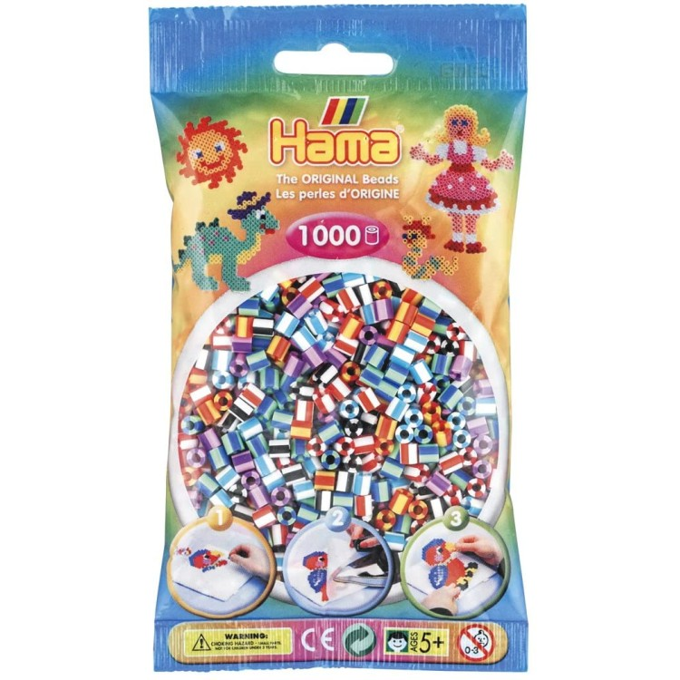 Hama Beads Bag of 1000 Striped Beads