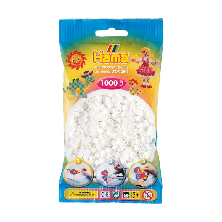 Hama Beads Bag of 1000 White Beads
