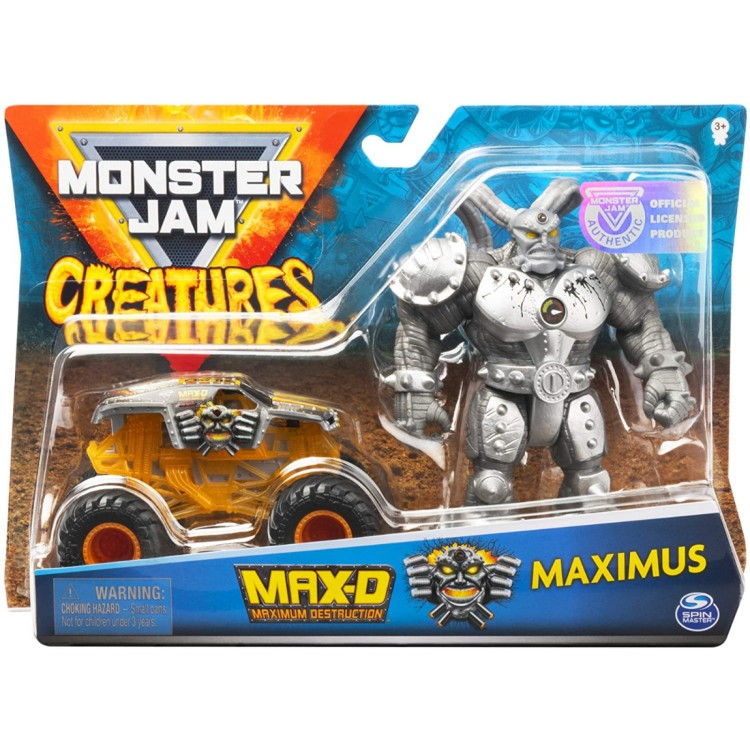 Monster Jam Creatures Max-D Truck and Maximus Action Figure Pack