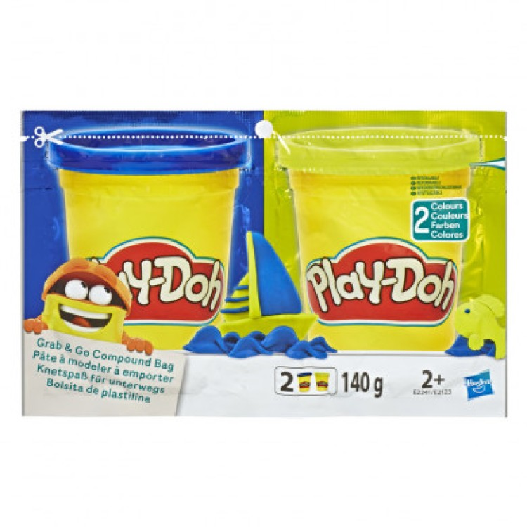Play-Doh Grab & Go Compound Bag Blue and Yellow