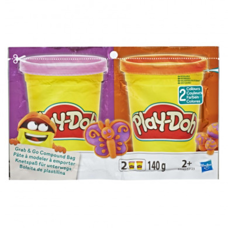 Play-Doh Grab & Go Compound Bag Purple and Orange